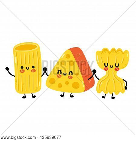 Cute Funny Macaroni Pasta Noodles Character. Vector Cartoon Kawaii Character Illustration. Isolated