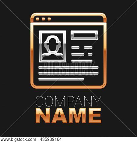 Line Resume Icon Isolated On Black Background. Cv Application. Searching Professional Staff. Analyzi