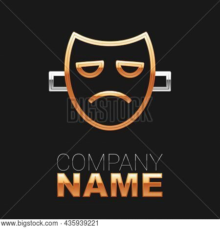 Line Drama Theatrical Mask Icon Isolated On Black Background. Colorful Outline Concept. Vector