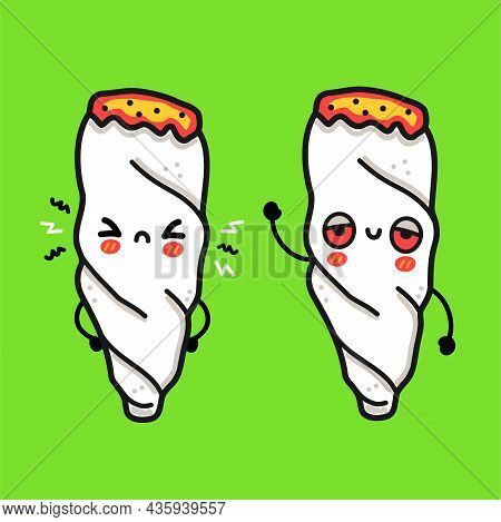 Cute Funny Happy And Sad Weed Joint Character. Vector Hand Drawn Cartoon Kawaii Character Illustrati