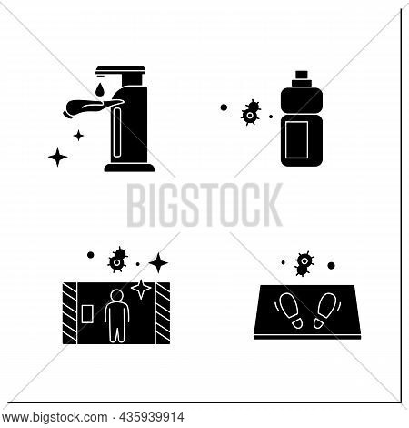 Surface Disinfection Glyph Icons Set.disinfection Tunnel, Mat, Sanitizer Bottle. Home, Public Areas,