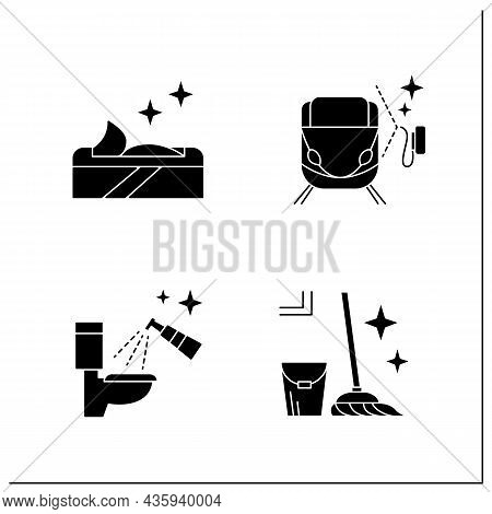 Surface Disinfection Glyph Icons Set.toilet, Train Disinfection. Wet Wipes, Mopping. Home, Public Ar