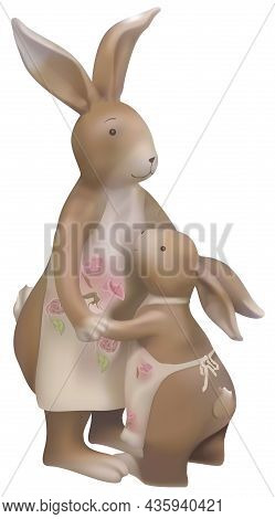 Brown Easter Bunnies Mom And Cub - Colored And Detailed Illustration Isolated On White Background, V