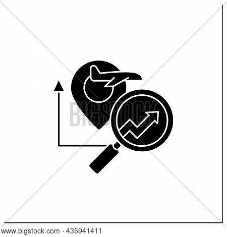 Travel Analytics Predictive Analytics Glyph Icon.help Travel, Transport, Logistics Companies. Chart