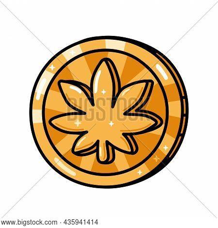 Funny Golden Weed Marijuana Leaf Coin. Vector Hand Drawn Cartoon Kawaii Character Illustration. Isol