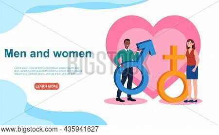 Sex Education Concept. Man And Woman Hold Their Gender Signs Against Background Of Large Heart. Temp