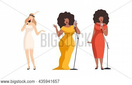 Young Woman Character Musician And Singer Performing Music Singing With Microphone Vector Set