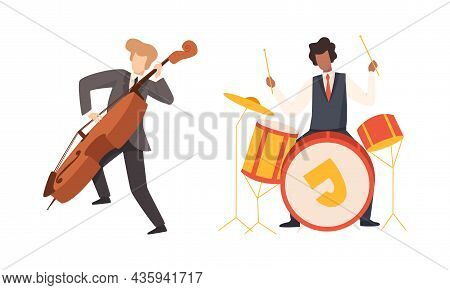 Man Musician Character Performing Music Playing Drum And Cello Vector Set