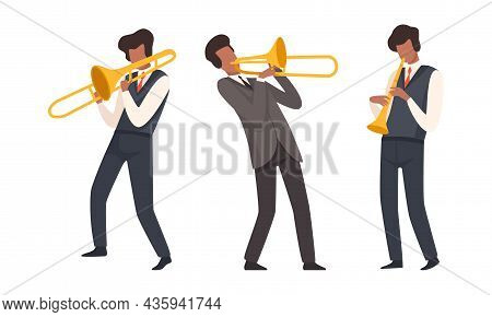 Man Musician Character Performing Music Playing Flute And Trombone Vector Set
