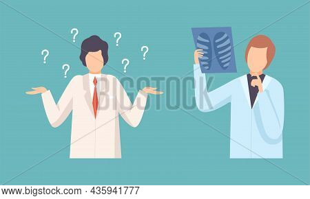 Man Doctor In White Coat Questioning And Examining X-ray Vector Set