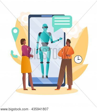 Robotic Assistant In Smartphone Concept. Man And Woman Ask Questions To Artificial Intelligence. Aut