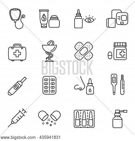 Collection Monochrome Pharmacy Line Icon Vector Medicines Pharmaceuticals Illness Treatment