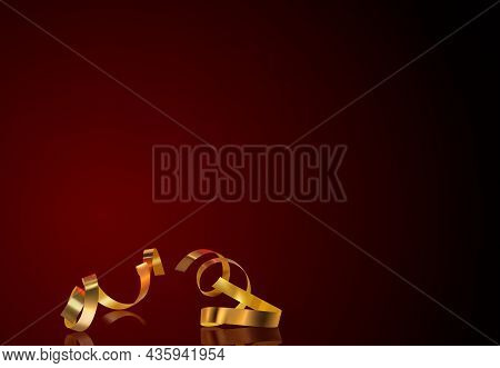 Gold Confetti With Reflection And Red Reflecting Background - Colored And Detailed Illustration For