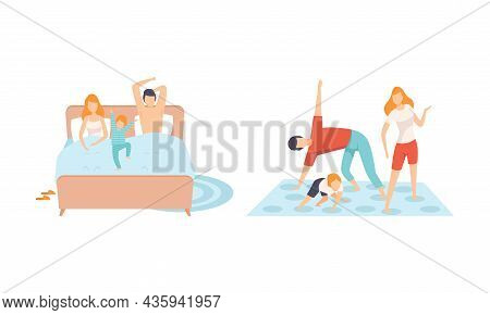Happy Family With Man And Woman Parent With Kid Spending Good Time Together Waking Up And Playing Tw