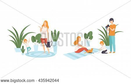 Happy Family With Man And Woman Parent With Kid Spending Good Time Together Watering Houseplant And