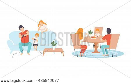 Happy Family With Man And Woman Parent With Kid Spending Good Time Together Playing Video Game And D