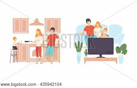 Happy Family With Man And Woman Parent With Kid Spending Good Time Together Watching Tv And Cooking