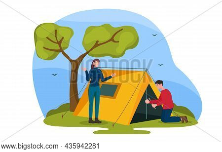 People Put Up Tent Concept. Man And Woman Resting In Nature. Camping On Hike. Tent For Outdoor Livin
