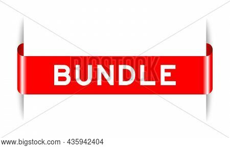 Red Color Inserted Label Banner With Word Bundle On White Background