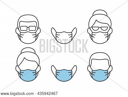 Face Mask Vector Line Icon, Man And Woman In Respirator. Disease Prevention Concept. Protection Wear