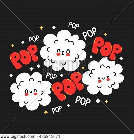 Cute Happy Funny Popcorn. Vector Hand Drawn Cartoon Kawaii Character Illustration Sticker Logo Icon.