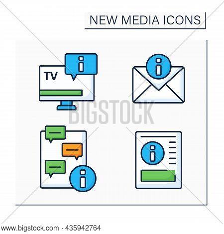 New Media Color Icons Set.television, Newspaper, Message Notification. Chatting. Information Space C