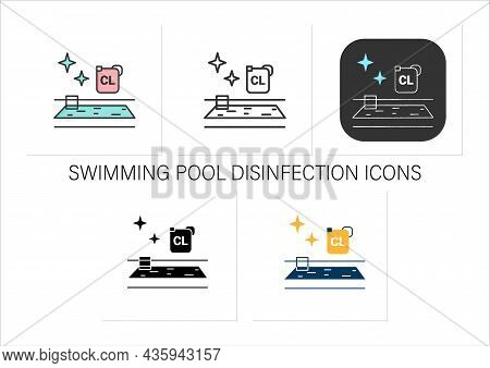 Swimming Pool Disinfection Icons Set. Water Chlorination.public Spaces And Surfaces Disinfection.pre