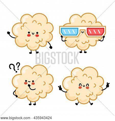 Cute Happy Funny Popcorn Set Collection. Vector Hand Drawn Cartoon Kawaii Character Illustration Sti