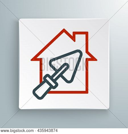 Line House Or Home With Trowel Icon Isolated On White Background. Adjusting, Service, Setting, Maint