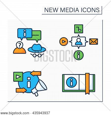 New Media Color Icons Set.anonymous Communication, Book, Media, Exchanging And Promoting New Content