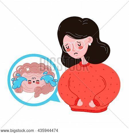 Sad Sick Young Women With Intestine Problem. Vector Flat Cartoon Illustration Icon Design. Isolated