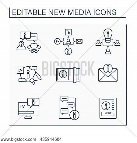 New Media Line Icons Set. Info Content. Exchange Messages. Information Space Concept. Isolated Vecto