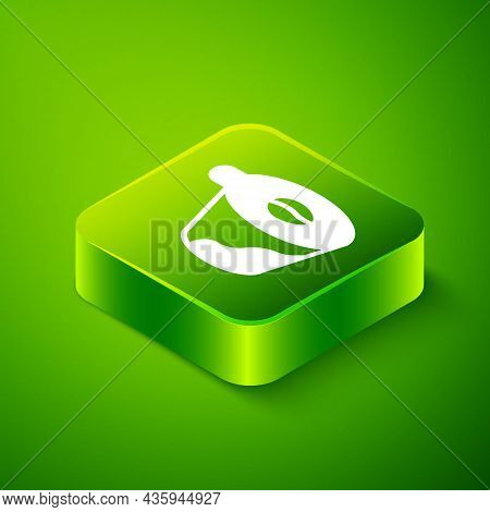 Isometric Pour Over Coffee Maker Icon Isolated On Green Background. Alternative Methods Of Brewing C
