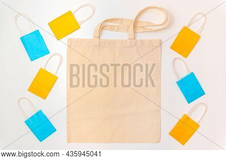 Beige Blank Template As Commercial Shopping Tote Bag Canvas And Colorful Bags With Handles For Groce