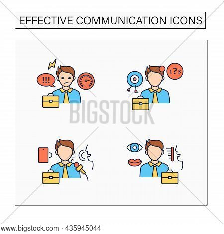 Effective Communication Color Icons Set.ineffective, Verbal, Non Verbal Communication. Exchanging Th