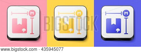 Isometric Carton Cardboard Box Measurement Icon Isolated On Pink, Yellow And Blue Background. Box, P