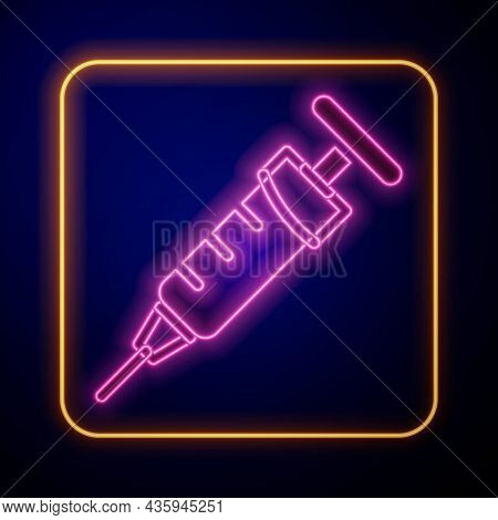 Glowing Neon Syringe Icon Isolated On Black Background. Syringe For Vaccine, Vaccination, Injection,