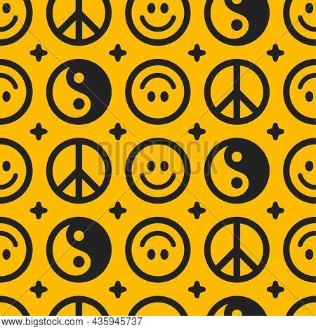 Yin Yang, Peace Hippie Sign And Smile Face Seamless Pattern.vector Hand Drawn Doodle Cartoon Charact