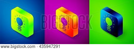 Isometric Creative Lamp Light Idea Icon Isolated On Blue, Purple And Green Background. Concept Ideas