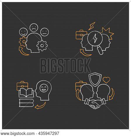 Conflict Management Chalk Icons Set.teaching Positive Behaviors, Building Trust, Managing Emotions,