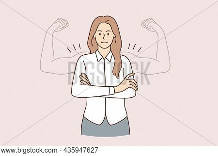 Super Power Of Woman Concept. Young Smiling Woman Cartoon Character Standing With Hands Crossed And