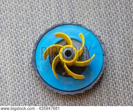 Plastic Fuel Cap With Yellow Rubber Top View