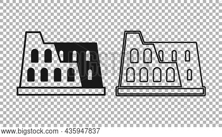 Black Coliseum In Rome, Italy Icon Isolated On Transparent Background. Colosseum Sign. Symbol Of Anc
