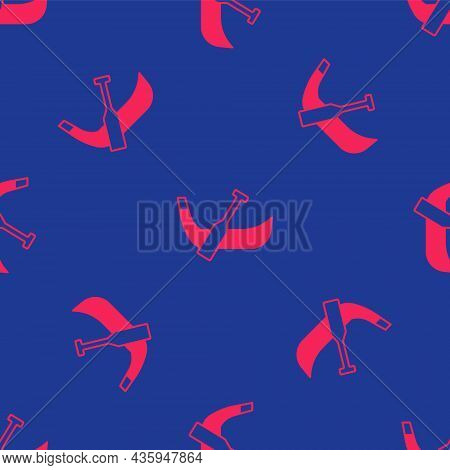 Red Gondola Boat Italy Venice Icon Isolated Seamless Pattern On Blue Background. Tourism Rowing Tran