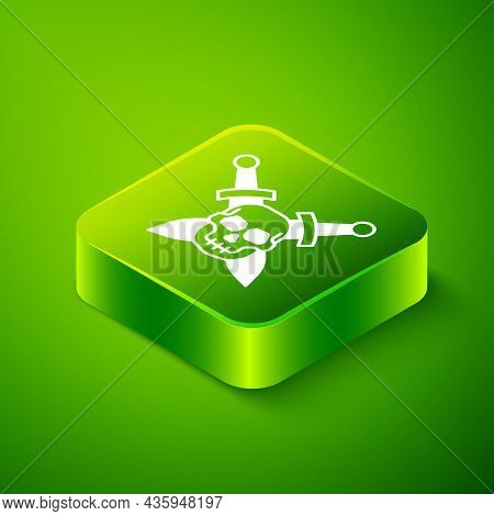 Isometric Crossed Medieval Sword With Skull Icon Isolated On Green Background. Medieval Weapon. Gree