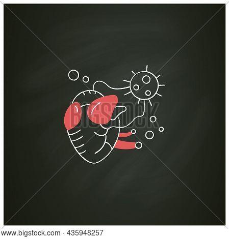Heart Damage Chalk Icon. Covid Hearth Attack. Concept Of Corona Virus Cardio Health Effect And Infec