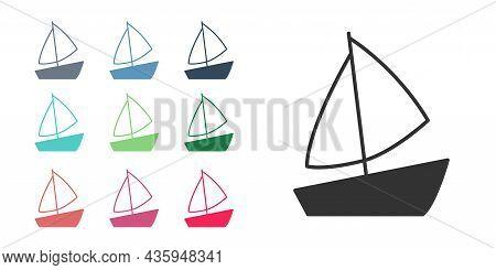 Black Yacht Sailboat Or Sailing Ship Icon Isolated On White Background. Sail Boat Marine Cruise Trav