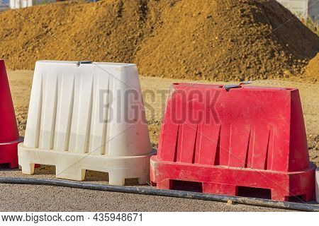 Water Filled Barriers At Road Construction Site Safety