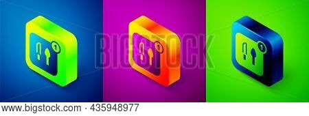 Isometric Food Ordering Icon Isolated On Blue, Purple And Green Background. Order By Mobile Phone. R