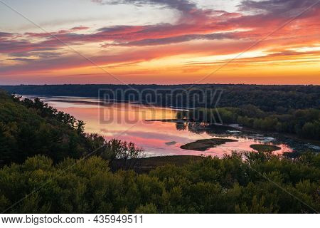 Scenic Sunset Overlooking The Confluence Of The Kinnickinnic And St. Croix Rivers And Delta At Kinni